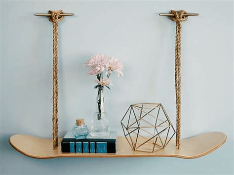 How to transform old skateboard deck into a chic shelving unit