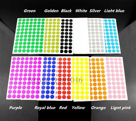 12 Sheets/Pack 10mm Circle Round Color Coded Adhesive
