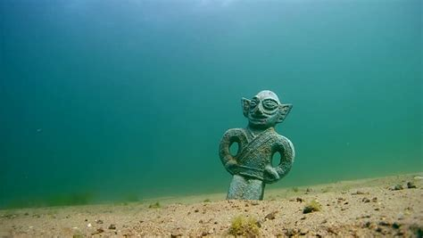 Ancient Sculpture Stands at the Stock Footage Video (100%