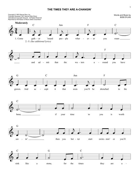The Times They Are A-Changin' Sheet Music | Bob Dylan