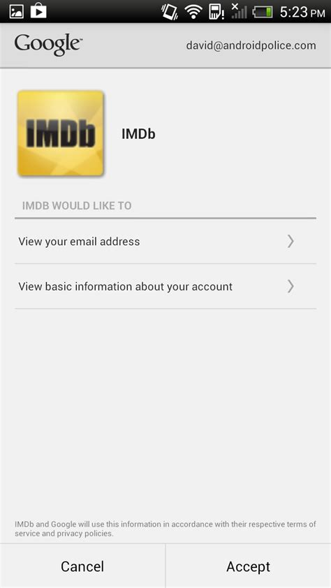 IMDB For Android Now Lets You Sign In With Your Google