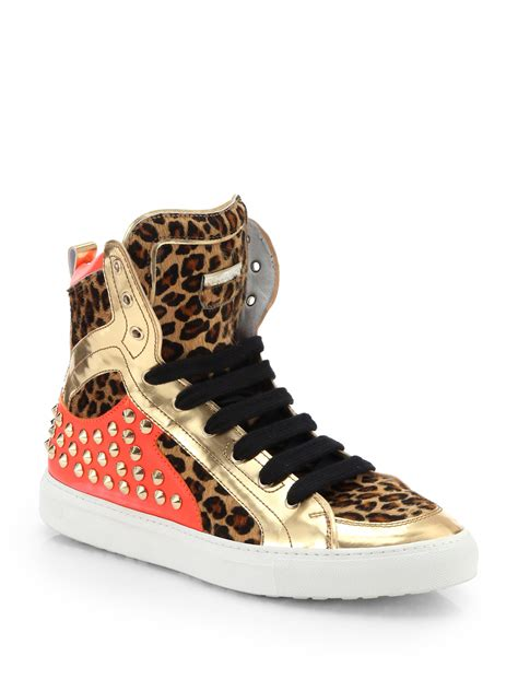 Lyst - DSquared² Leopard-Print Pony Hair Studded High-Top