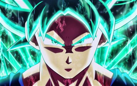 Download wallpapers Son Goku, turquoise flames, 4k, Super