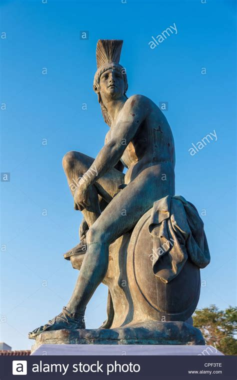 Statue of ancient Greek Hero Theseus in Athens Stock Photo