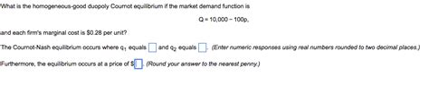 Solved: What Is The Homogeneous-good Duopoly Cournot Equil