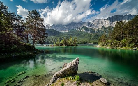 nature, Landscape, Lake, Forest, Mountain, Clouds, Germany