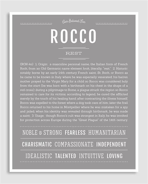 Rocco   Classic Name Print   Classic names, Names with