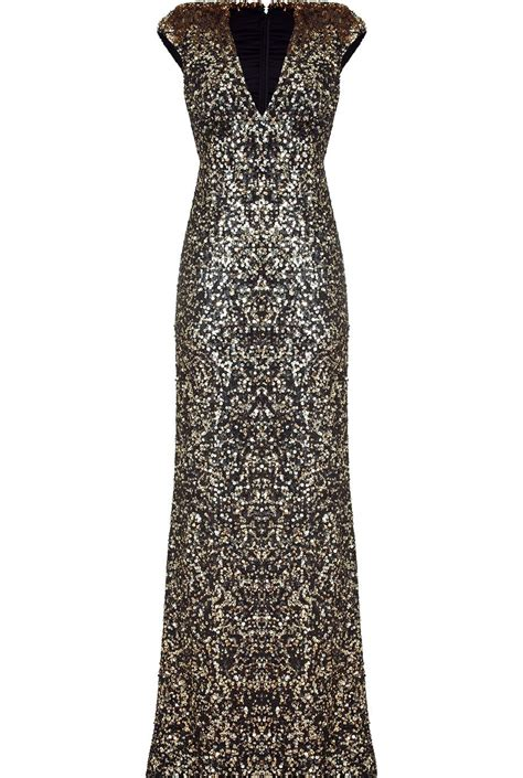 jenny packham Black and Gold Sequin Gown   Fashion